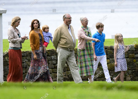 Princess Alexandra of Sayn-Wittgenstein-Berleburg, Crown Princess Mary, Prince Vincent, Prince Henrik, Queen Margrethe II, Count Richard von Pfeil und Klein-Ellguth, Countess Ingrid von Pfeil und Klein-Ellguth