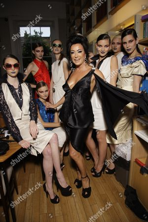 Stock Picture of Nancy Dell'Olio and models backstage