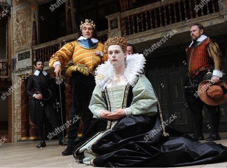 Mark Rylance as Richard III, Samuel Barnett as Queen Elizabeth, John Paul Connolly as First Murderer