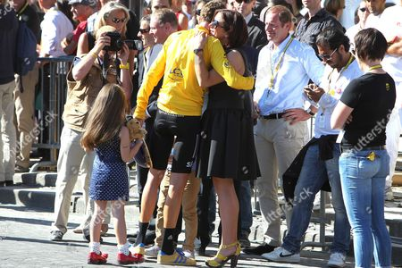 Stock Photo of Bradley Wiggins being congratulated by wife Catherine Wiggins