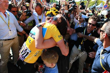 Stock Picture of Bradley Wiggins being congratulated by wife Catherine Wiggins