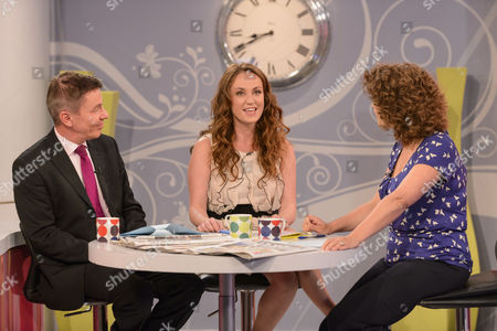 Stock Picture of Andrew Pierce and Martell Maxwell with Presenter Nadia Sawalha