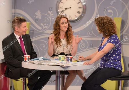 Stock Image of Andrew Pierce and Martell Maxwell with Presenter Nadia Sawalha
