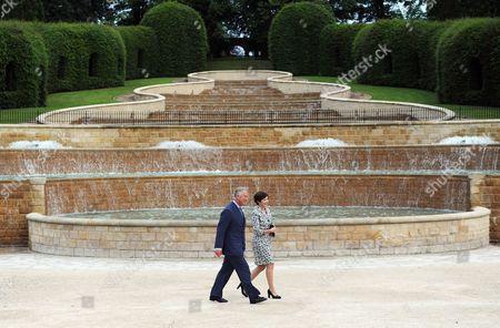 Prince Charles accompanied by the Duchess of Northumberland walk through Alnwick Gardens, Northumberland