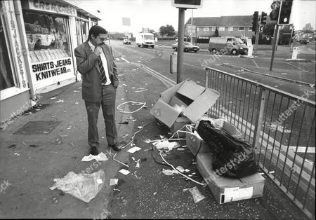 John Midgley North West Director Of 'the Tidy Britain' Group Surveys The Rubbish Dumped By Shopkeepers On Bury New Road In Manchester.