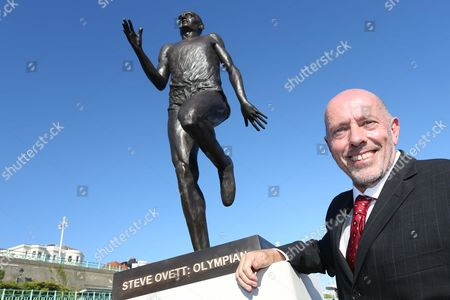 Stock Image of Steve Ovett with new statue of himself