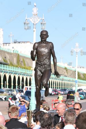 Stock Picture of Steve Ovett with new statue of himself