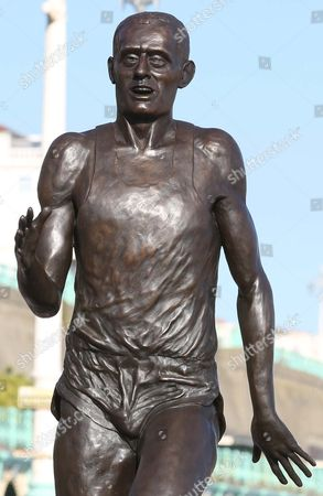 Stock Photo of Steve Ovett with new statue of himself