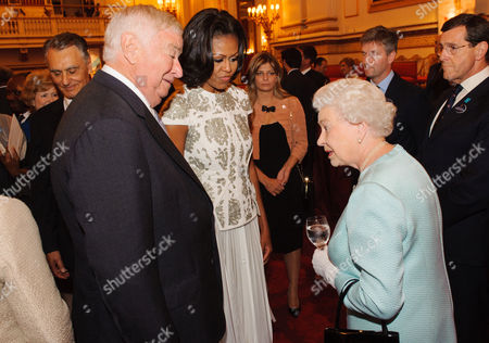 US Ambassador Louis B Susman, US First Lady Michelle Obama and Queen Elizabeth II