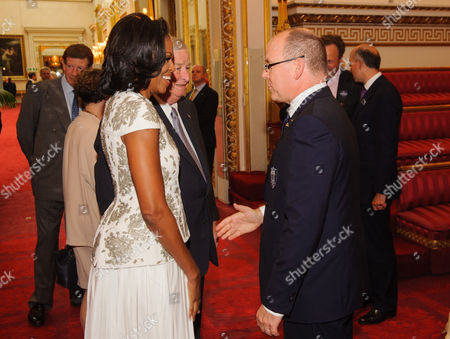 US First Lady Michelle Obama, US Ambassador Louis B Susman and Prince Albert II of Monaco