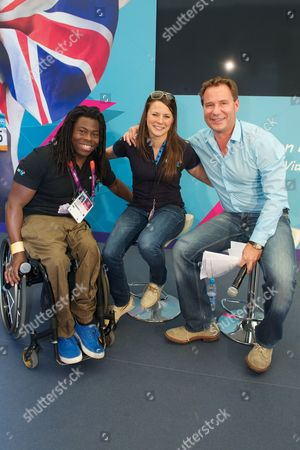 Ade Adepitan, Liz Johnson and Richard Arnold at BT House