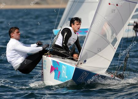 Peter O'Leary and David Burrows of Ireland in action during the Star Class race