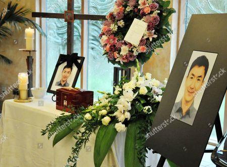 Jun Lin's photo at his funeral