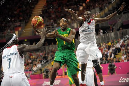 Great Britain vs Brazil. Larry Taylor, Pops Mensah-Bonsu and Luol Deng