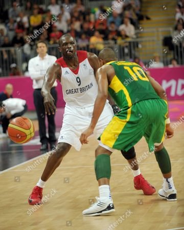 Great Britain vs Brazil. Luol Deng and Leandrinho Barbosa