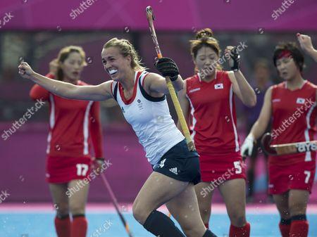 Laura Bartlett of Team GB celebrating a goal during the Women's Hockey - Great Britain vs. South Korea