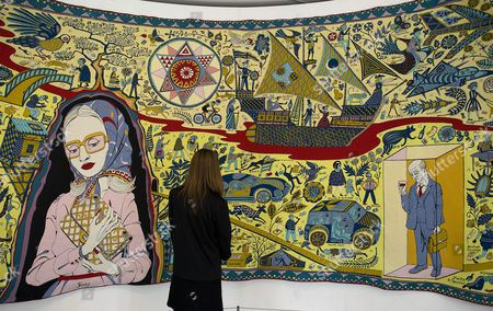 'The Walthamstow Tapestry' by Grayson Perry on display inside the William Morris Gallery