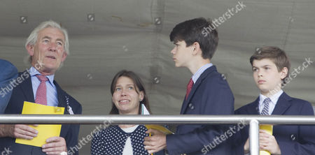 Lady Sarah Chatto watches the opening race with her sons Arthur Chatto and Samuel Chatto