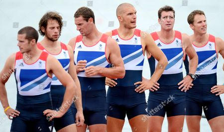 Great Britain's mens Eight crew of James Foad, Tom Ransley, Richard Egington, Mohammed Sbihi, Greg Searle and Matthew Langridge await to be presented with their bronze medal