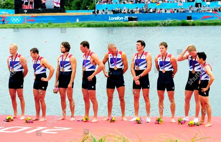 Great Britain's mens Eight crew of Alex Partridge, James Foad, Tom Ransley, Richard Egington, Mohammed Sbihi, Greg Searle, Matthew Lanridge, Constantine Louloudis and Phelan Hill await to be presented with their bronze medal