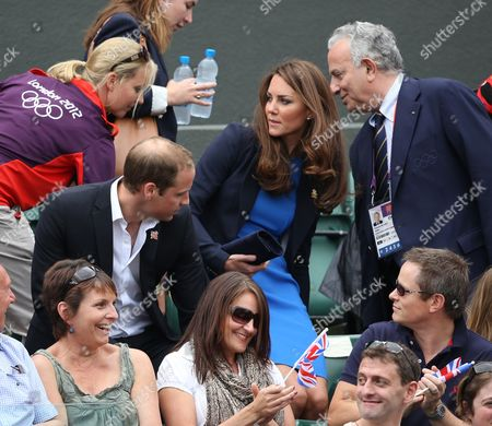 Prince William, Catherine Duchess of Cambridge and Francesco Ricci Bitti, President of the International Tennis Federation - the Men's Singles at Wimbledon