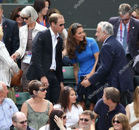 Prince William, Catherine Duchess of Cambridge and Francesco Ricci Bitti, President of the International Tennis Federation - Men's Singles at Wimbledon