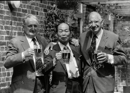 Editorial image of Ex British And Japanese World War Ii Enemies Sharing A Drink Bill Gollop Susumi Nishida And Alan Cowell.