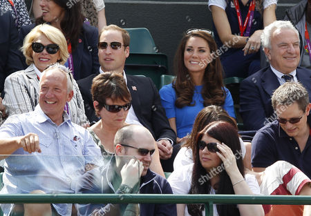 Prince William, Catherine Duchess of Cambridge and Francesco Ricci Bitti, President of the International Tennis Federation