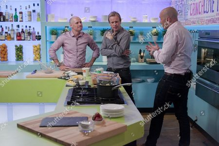 Mike Dilger with Tim Lovejoy and Simon Rimmer.
