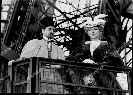 Marina Vlady And Youri Yakovlev On The Eiffel Tower Location For 'lika The Great Love Of Tchekov'.