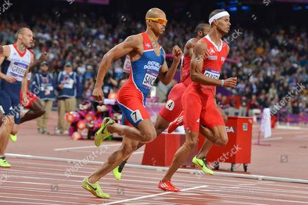 Felix Sanchez (Dominican Republic) and Javier Culson (Puerto Rico) and Dai Greene (GBR) in the mens 400m hurdles final
