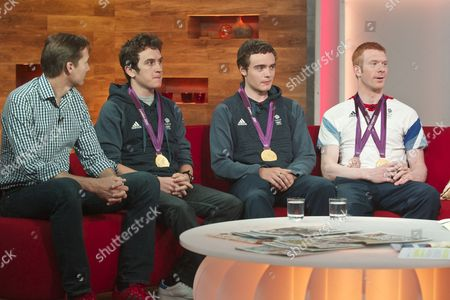 Roger Black with Geraint Thomas, Stephen Burke and Ed Clancy