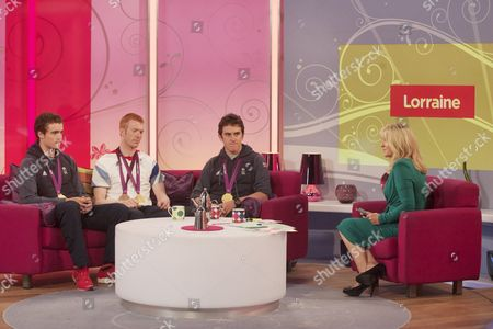 Stephen Burke, Ed Clancy and Geraint Thomas with Jackie Brambles