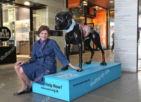 Mental Health Charity Sane Plans Sculptures Across The Country To Raise Awareness Of 'forgotten Illness'. Horace The Black Dog. Chief Executive Marjorie Wallace Picture By: Nigel Howard Email: Nigelhowardmediaatgmail.com.
