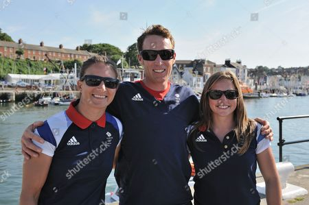 Bryony Shaw, Paul Goodison, Kate MacGregor of the British Olympic sailing team