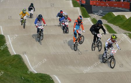 Shanaze Reade (top right) of Great Britain in action as she finishes in sixth place during the Women's BMX Final