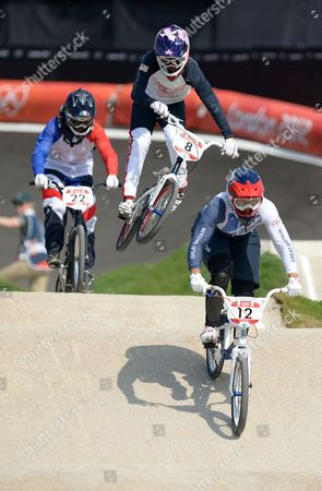 Shanaze Reade of Great Britain (12) in action during the Women's BMX Final