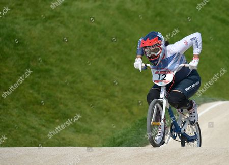 Shanaze Reade of Great Britain in action during the Women's BMX Final