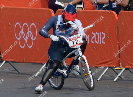 Shanaze Reade of Great Britain reacts after finishing in a non medal position during the Women's BMX Final