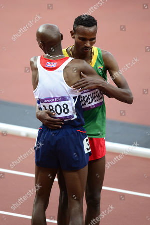 Mo Farah wins the 5000m, Dejen Gebremeskel