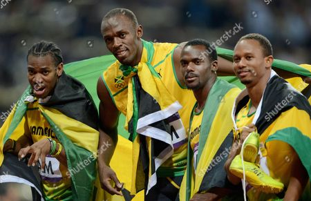 Editorial picture of The 2012 London Olympic Games, Athletics, Men's 4x100m Relay, Britain - 11 Aug 2012