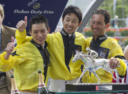 The Rest of the World team who won the Shergar Cup, Yutaka Take,Japan, Matthew Chadwick,Honh Kong, and Aaron Gryder USA.