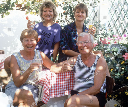 Clive Dunn with his wife Pricilla and daughters Polly and Jessica in Portugal