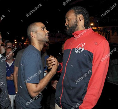 Stock Image of Tony Parker and Ronny Turiaf