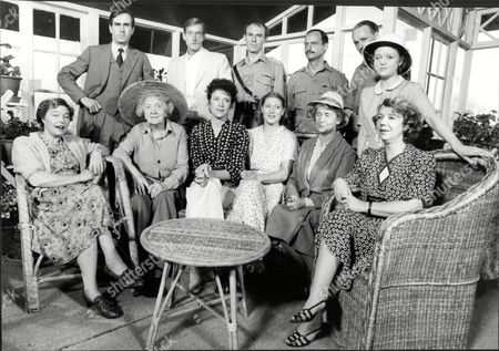 Set Of Television Programme 'the Jewel In The Crown' L-r Back Nicholas Le Prevost Charles Dance Tim Pigott Smith Geoffrey Beevers Stephen Riddle And Wendy Morgan. Front Rosemary Leach Fabia Drake Judy Parfitt Geraldine James Peggy Ashcroft And Anna Cropper.