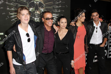 Stock Image of Jean-Claude Van Damme, Gladys Portugues and children