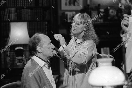 Behind the scenes filming camera crew Michael Hordern in make up
