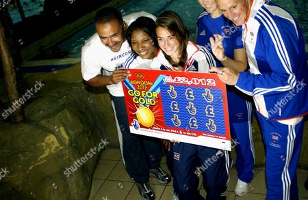 A group of Gold Medalists Help Launch a New Olympic Lottery Game.  British Athletes Daley Thompson Obe, Denise Lewis Obe, Emily Pigeon & Danny Crates.