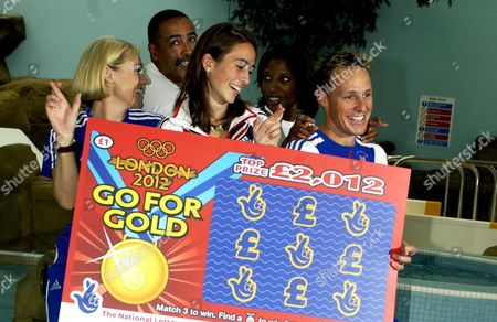 A group of Gold Medalists Help Launch a New Olympic Lottery Game. British Athletes Shirley Robertson Obe, Daley Thompson Obe, Emily Pigeon, Denise Lewis Obe & Danny Crates.