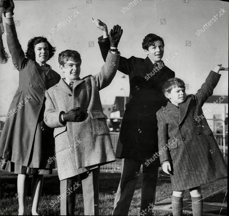 Grandchildren Of The Prime Minister Harold Macmillan Wave Goodbye At London Airport. L-r Anne Faber Michael Faber Mark Faber And Alexander Macmillan.